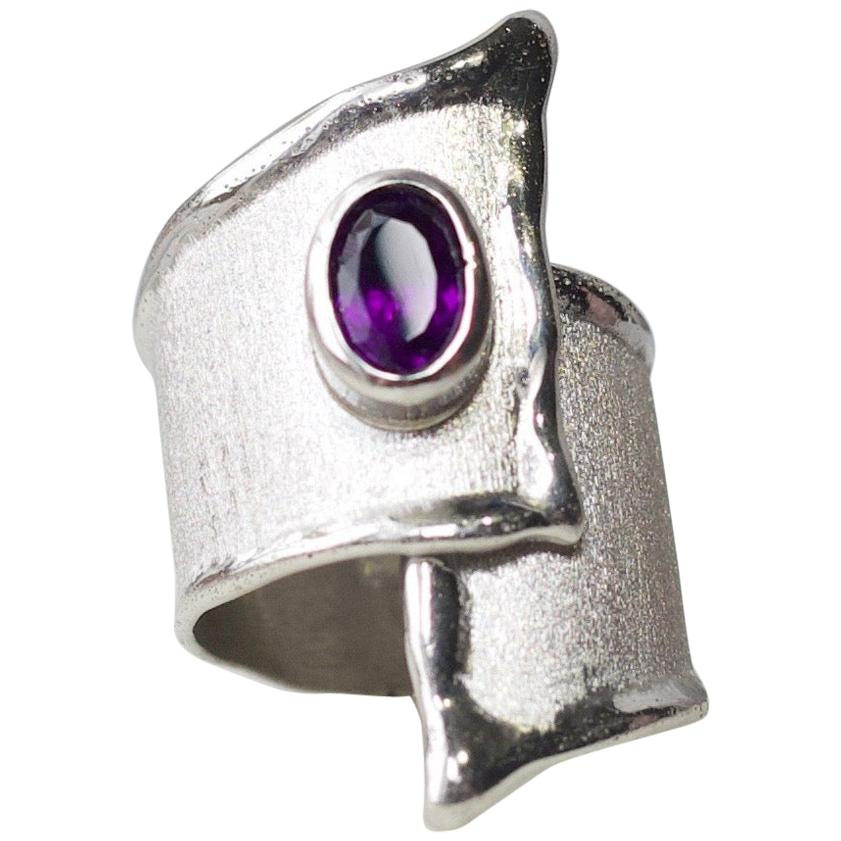 Yianni Creations Amethyst Fine Silver and Palladium Adjustable Wide Band Ring