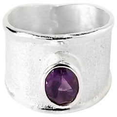 Yianni Creations 1.25 Carat Amethyst Fine Silver and Palladium Ring