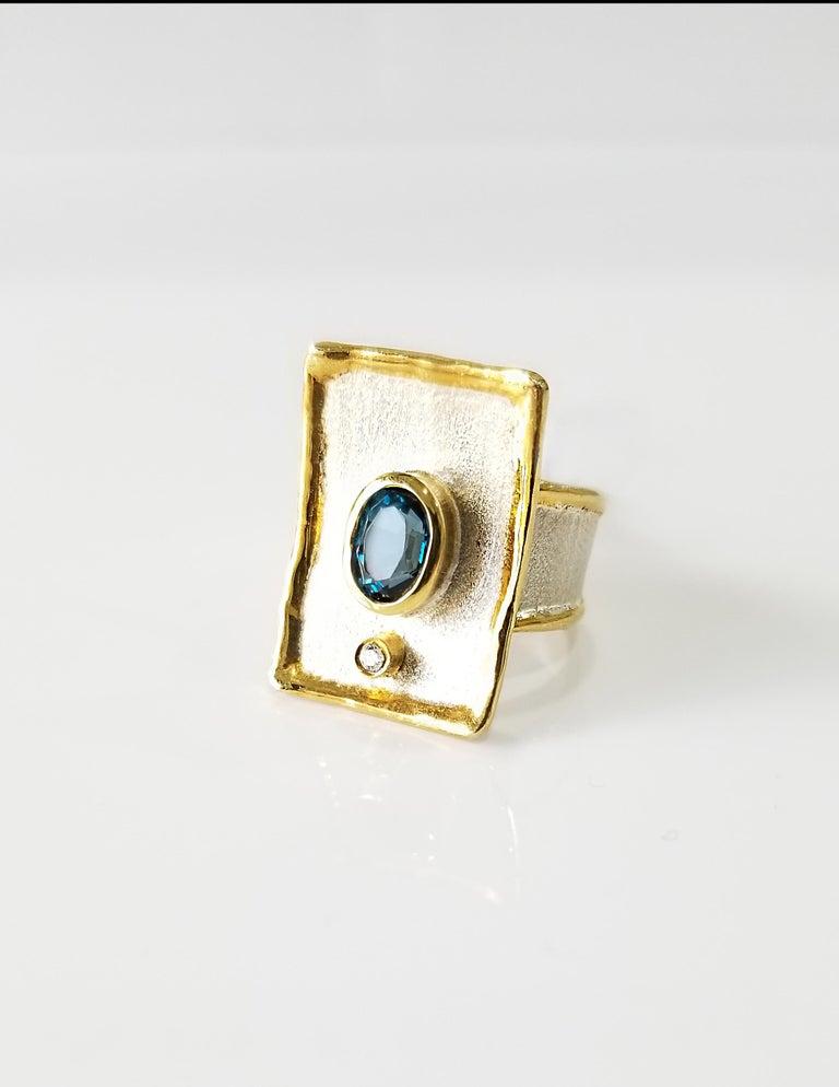 Women's Yianni Creations London Blue Topaz Diamond Fine Silver 24 Karat Gold Wide Ring For Sale