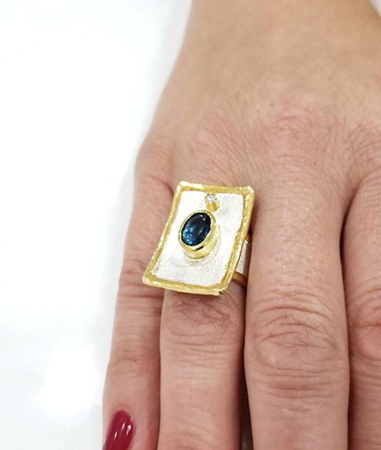Contemporary Yianni Creations London Blue Topaz Diamond Fine Silver 24 Karat Gold Wide Ring For Sale