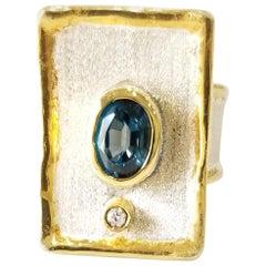Yianni Creations London Blue Topaz Diamond Fine Silver 24 Karat Gold Wide Ring
