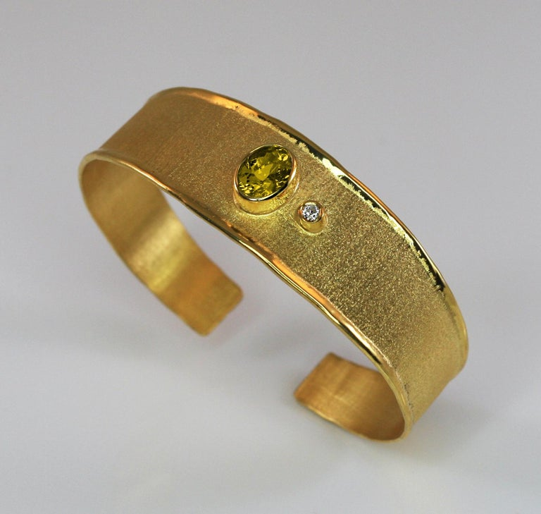 Oval Cut Yianni Creations 18 Karat Solid Yellow Gold Diamond Bracelet With a Citrine For Sale