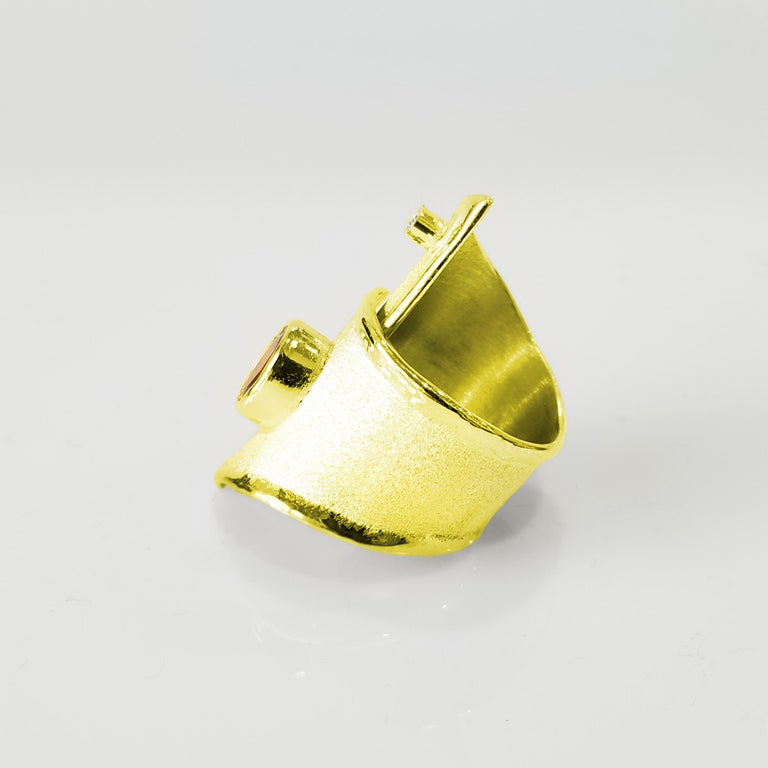 Contemporary Yianni Creation Gold 18 Karat Citrine and Diamond Adjustable Long Wide Band Ring For Sale