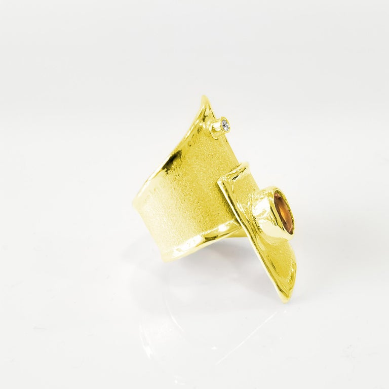 Yianni Creation Gold 18 Karat Citrine and Diamond Adjustable Long Wide Band Ring For Sale 2
