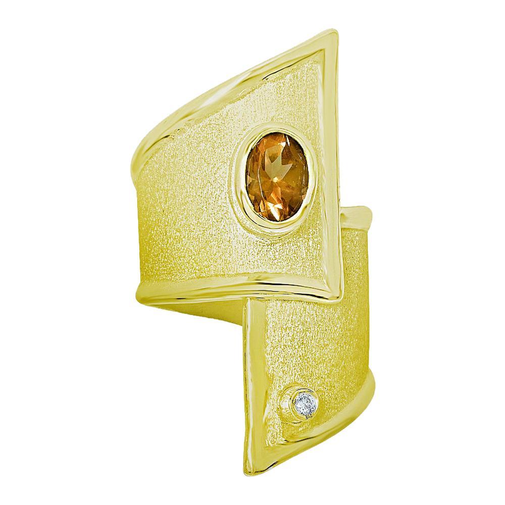 Yianni Creation Gold 18 Karat Citrine and Diamond Adjustable Long Wide Band Ring