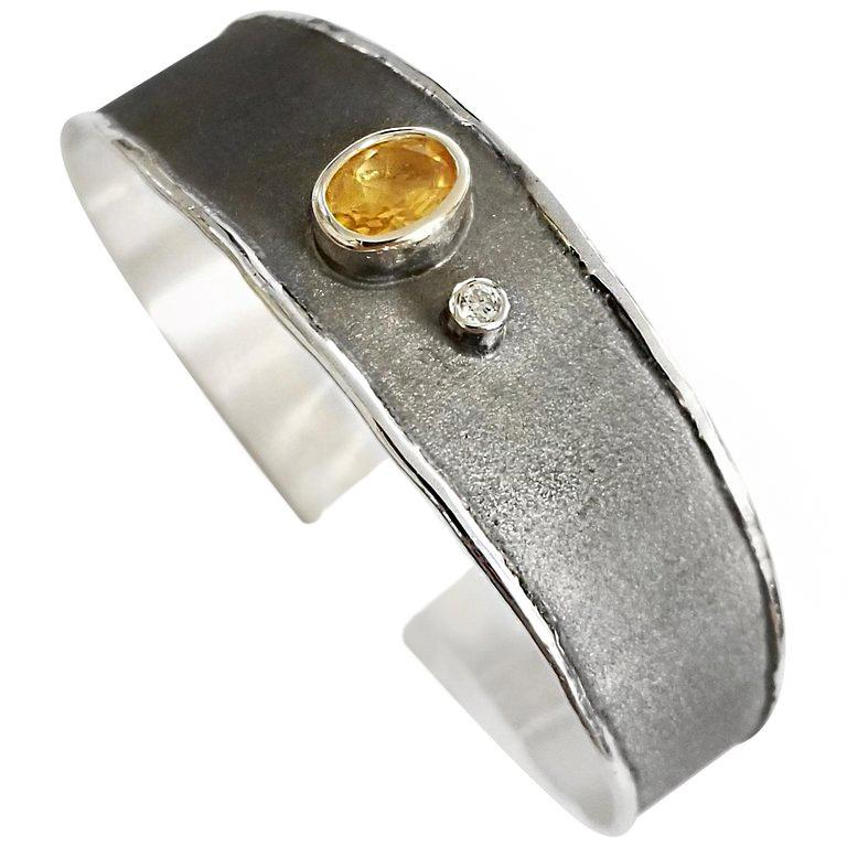 Yianni Creations 1.25 Carat Citrine Diamond Fine Silver Rhodium Bangle Bracelet