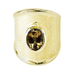Yianni Creations 1.25 Carat Citrine Ring in 18 Karat Yellow Gold