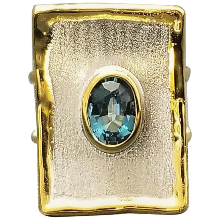 Yianni Creations Blue Topaz Fine Silver 24 Karat Gold Two Tone Rectangular Ring