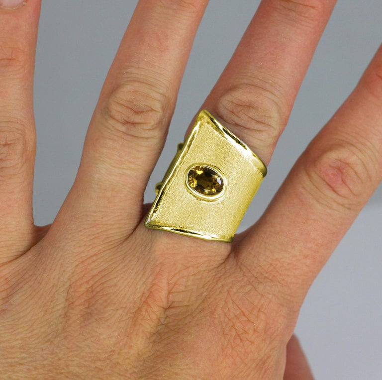 Oval Cut Yianni Creations Citrine Adjustable Wide Band Ring in 18 Karat Yellow Gold For Sale
