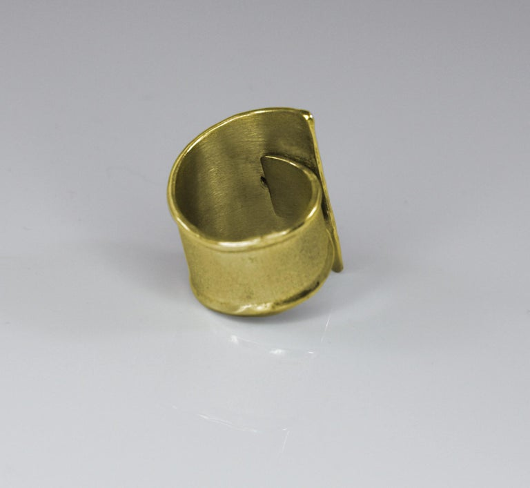 Contemporary Yianni Creations Citrine Adjustable Wide Band Ring in 18 Karat Yellow Gold For Sale