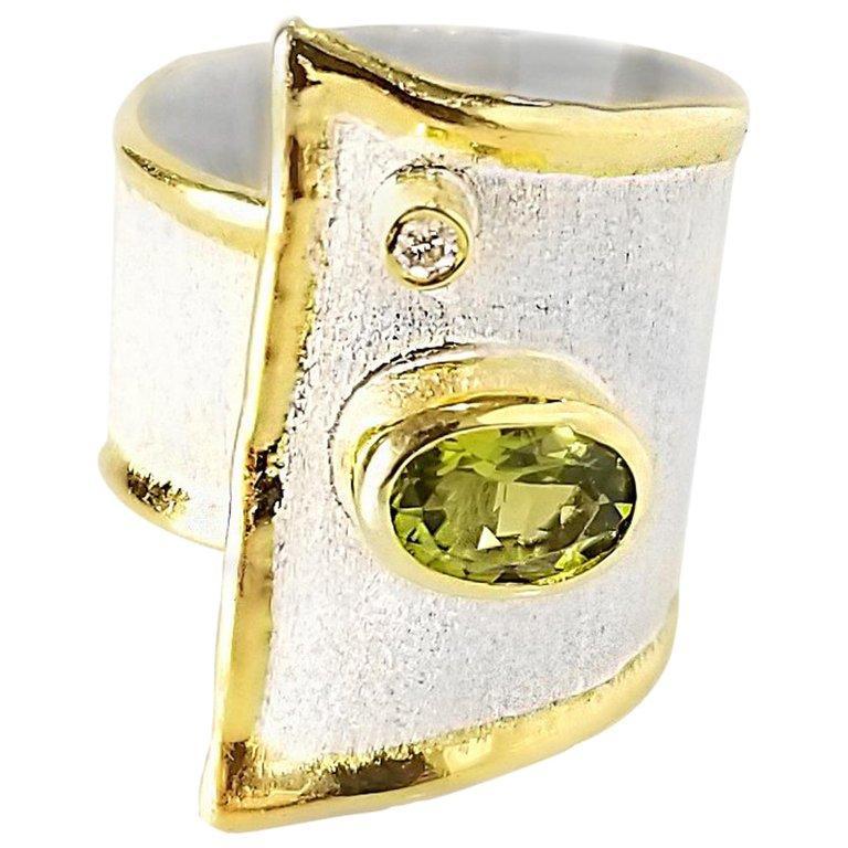 Yianni Creations Peridot and Diamond Fine Silver 24 Karat Gold Wide Band Ring