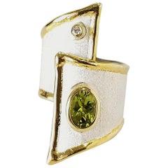 Yianni Creations Peridot Diamond Fine Silver and 24 Karat Gold Wide Band Ring