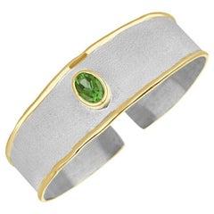 Yianni Creations 1.35 Carat Peridot Fine Silver 24 Karat Gold Bracelet