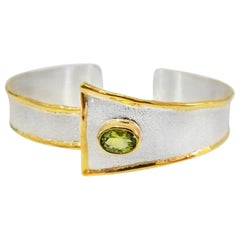 Yianni Creations 1.35 Carat Peridot Fine Silver and 24 Karat Gold Bracelet