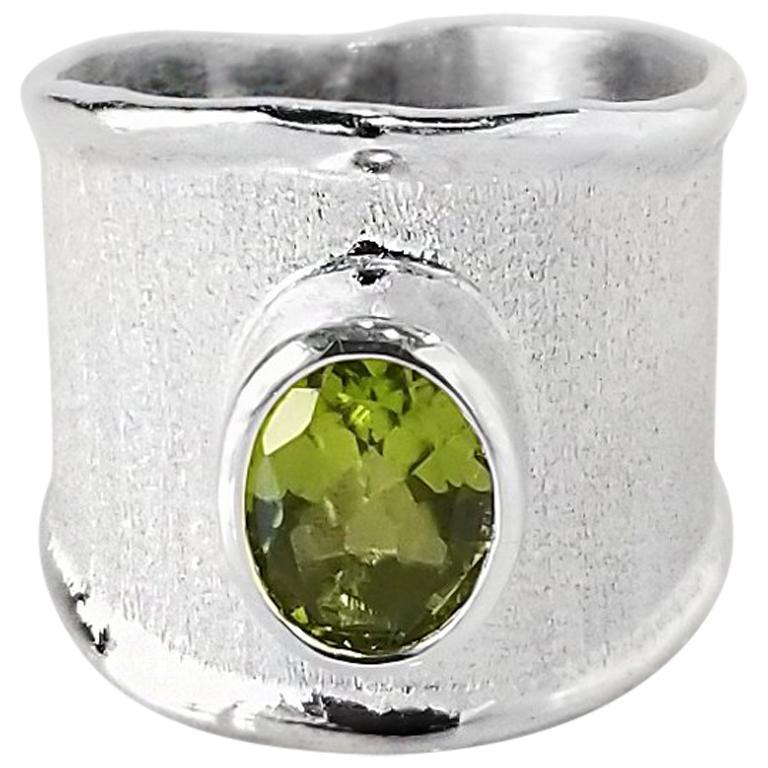 Yianni Creations Peridot Fine Silver and Palladium Wide Band Ring