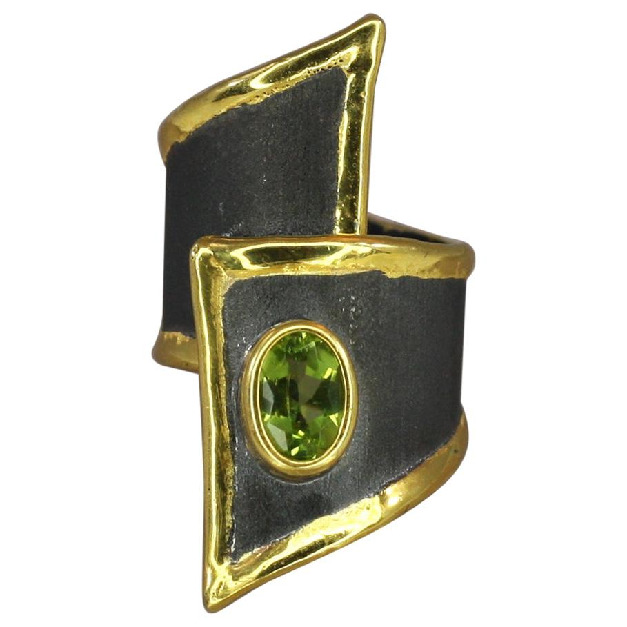 Yianni Creations Peridot Fine Silver and Gold Wide Adjustable Long Band Ring