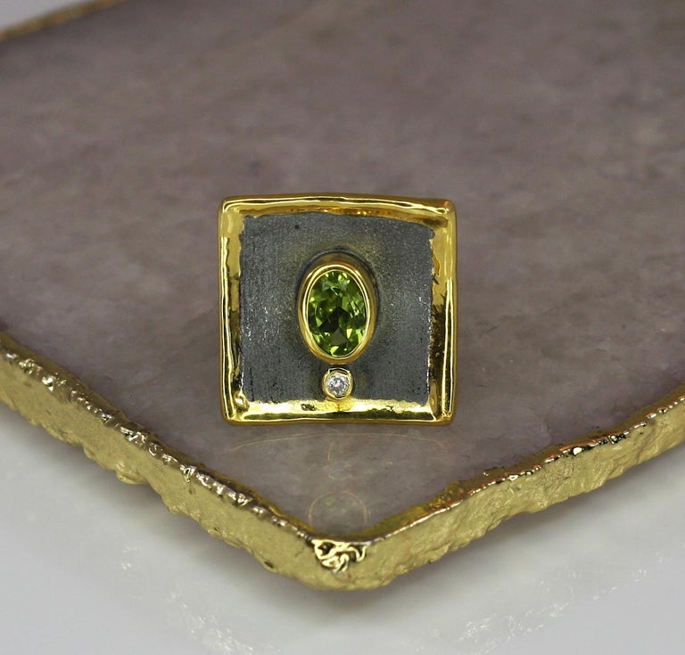 Oval Cut Yianni Creations 1.35 Peridot Fine Silver Square Ring with Rhodium and Gold For Sale