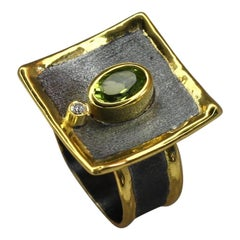 Yianni Creations Peridot Diamond Fine Silver and Gold with Rhodium Square Ring