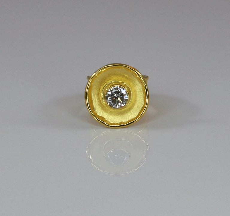 Contemporary Yianni Creations Yellow Gold 18 Karat Diamond Solitaire Wide Band Ring For Sale