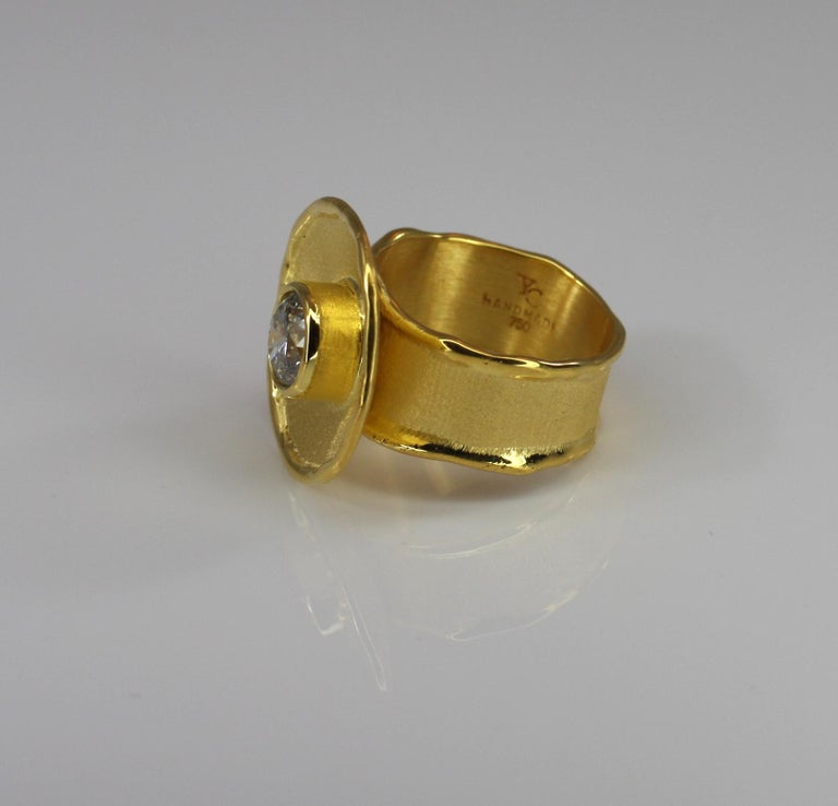 Yianni Creations Yellow Gold 18 Karat Diamond Solitaire Wide Band Ring In New Condition For Sale In Astoria, NY