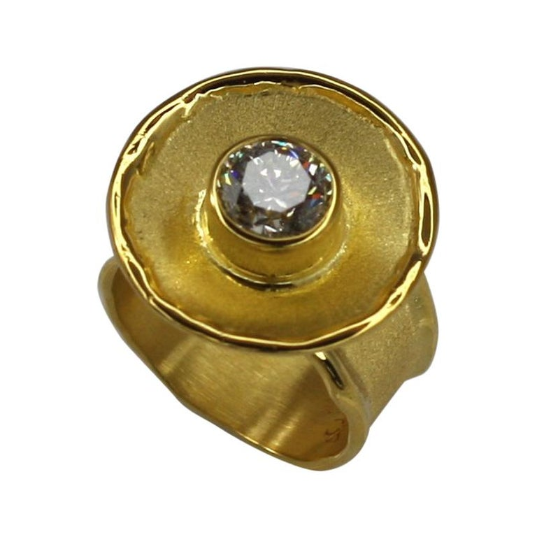 Yianni Creations Yellow Gold 18 Karat Diamond Solitaire Wide Band Ring For Sale