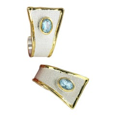 Yianni Creations 1.50 Carat Oval Aquamarine Silver and 24 Karat Gold Earrings