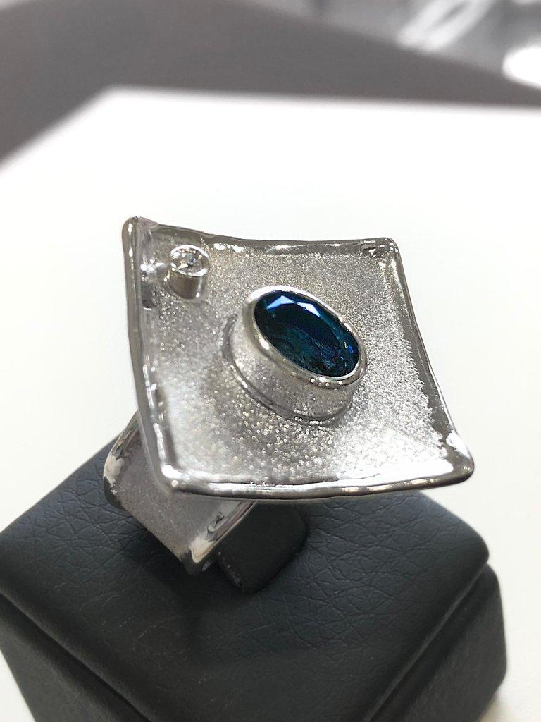 Yianni Creations London Blue Topaz and Diamond Fine Silver Palladium Wide Ring For Sale 1