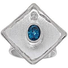 Yianni Creations 1.60 Carat Blue Topaz and Diamond Fine Silver Palladium Ring