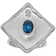 Yianni Creations London Blue Topaz and Diamond Fine Silver Palladium Wide Ring