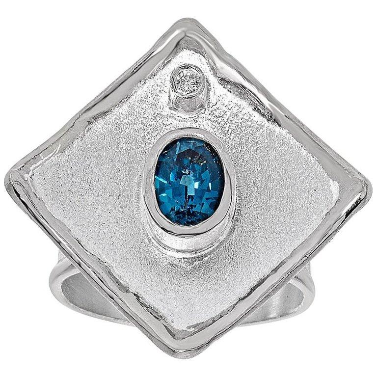 Yianni Creations London Blue Topaz and Diamond Fine Silver Palladium Wide Ring For Sale