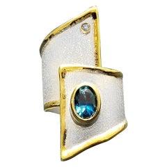 Yianni Creations Blue Topaz Diamond Silver 24 Karat Yellow Gold Wide Band Ring
