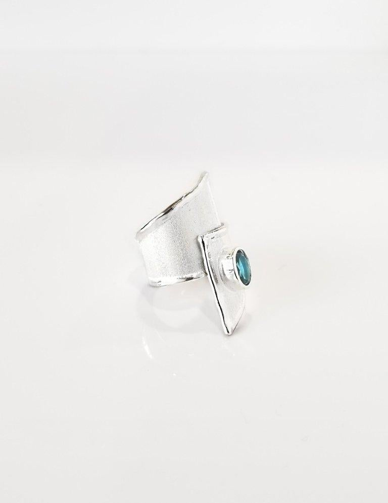 Contemporary Yianni Creations Blue Topaz Fine Silver and Palladium Wide Band Adjustable Ring For Sale