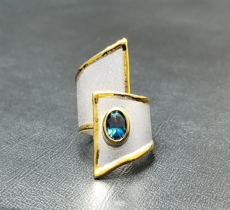 Yianni Creations Blue Topaz Fine Silver and Palladium Wide Band Adjustable Ring For Sale 3