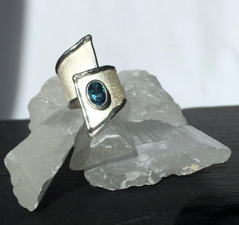 Yianni Creations Blue Topaz Fine Silver and Palladium Wide Band Adjustable Ring For Sale 1