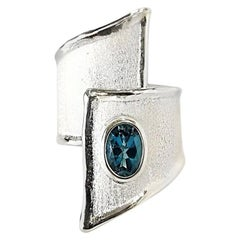 Yianni Creations 1.60 Carat Blue Topaz Fine Silver and Palladium Artisan Ring
