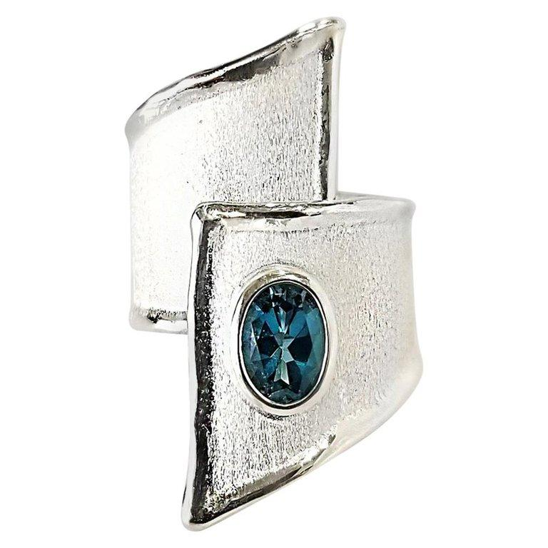 Yianni Creations Blue Topaz Fine Silver and Palladium Wide Band Adjustable Ring For Sale