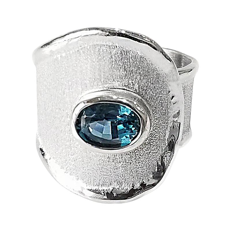 Yianni Creations London Blue Topaz Fine Silver and Palladium Wide Band Ring