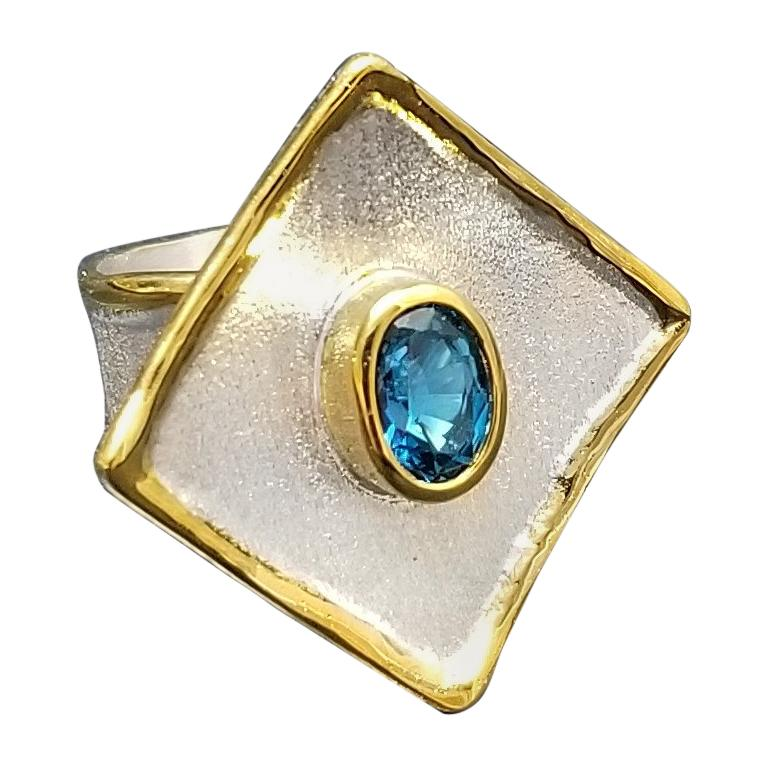 Yianni Creations Blue Topaz Fine Silver and 24 Karat Gold Two Tone Ring