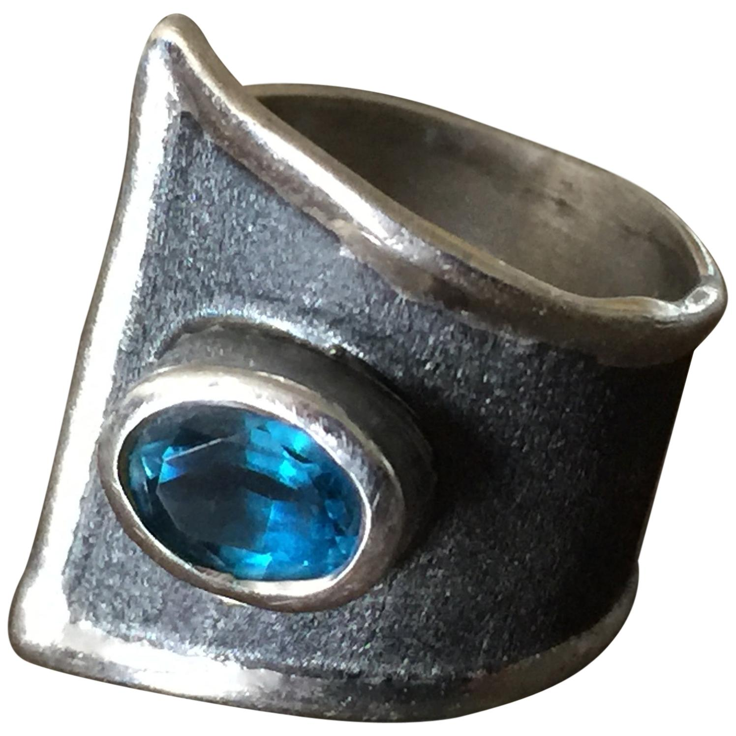 Yianni Creations Blue Topaz Fine Silver and Black Rhodium Wide Band Ring
