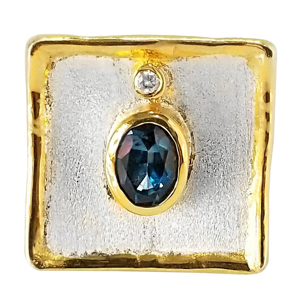 Yianni Creations London Blue Topaz Fine Silver and 24 Karat Gold Wide Band Ring