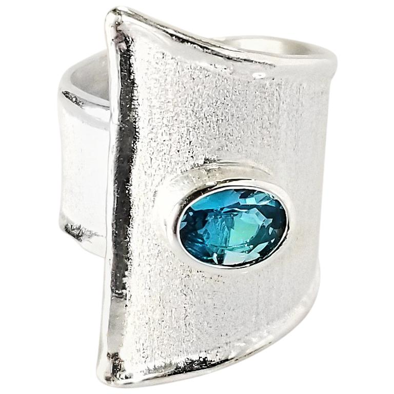 Yianni Creations Oval London Blue Topaz Fine Silver and Palladium Wide Band Ring