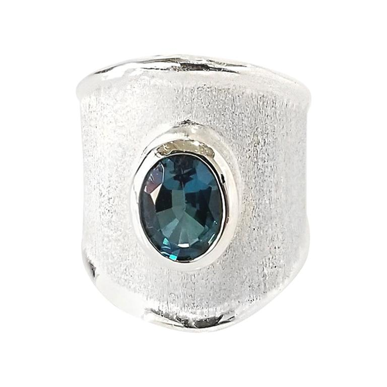 Yianni Creations Oval Blue Topaz Fine Silver and Palladium Wide Band Ring