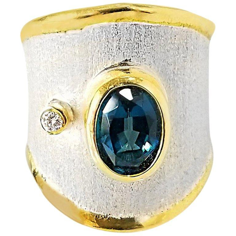 Yianni Creations 1.60 Carat Topaz and Diamond Fine Silver 24 Karat Gold Ring For Sale