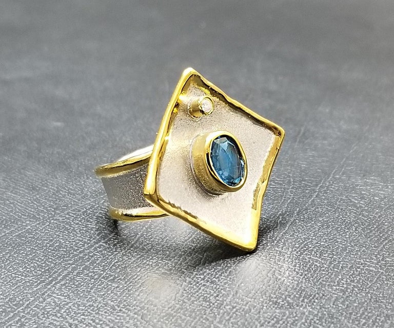 Oval Cut Yianni Creations Blue Topaz and Diamond Fine Silver 24 Karat Gold Two Tone Ring For Sale