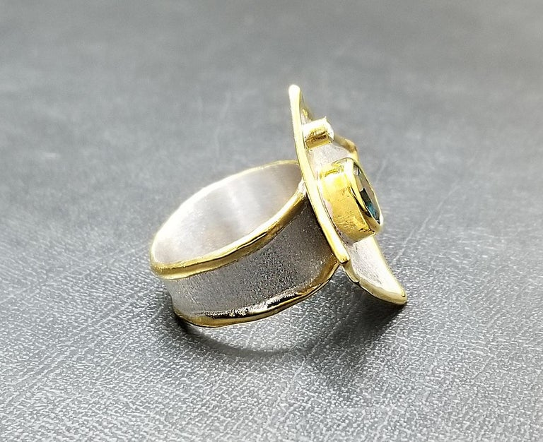 Yianni Creations Blue Topaz and Diamond Fine Silver 24 Karat Gold Two Tone Ring In New Condition For Sale In Astoria, NY