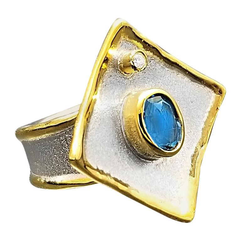 Yianni Creations Blue Topaz and Diamond Fine Silver 24 Karat Gold Two Tone Ring