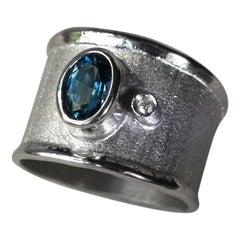 Yianni Creations Blue Topaz White Diamond Fine Silver Palladium Wide Band Ring