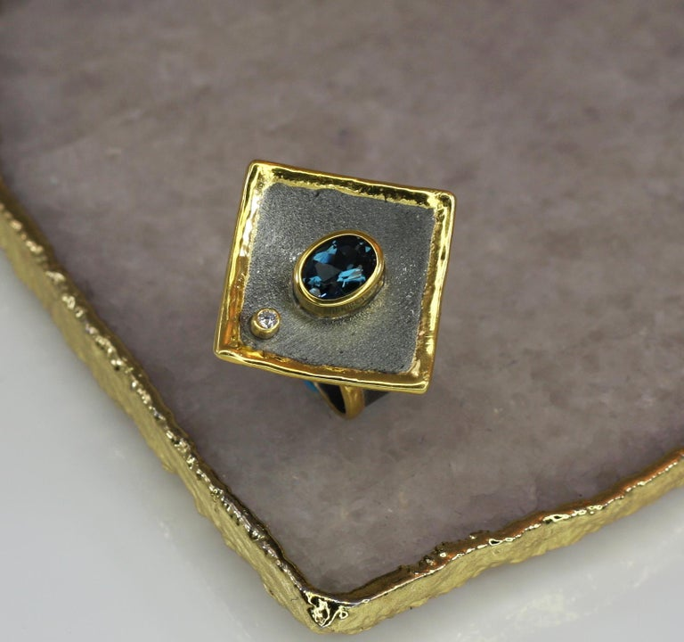 Yianni Creations 1.60 Carat Topaz and Diamond Silver Ring with Rhodium and Gold In New Condition For Sale In Astoria, NY