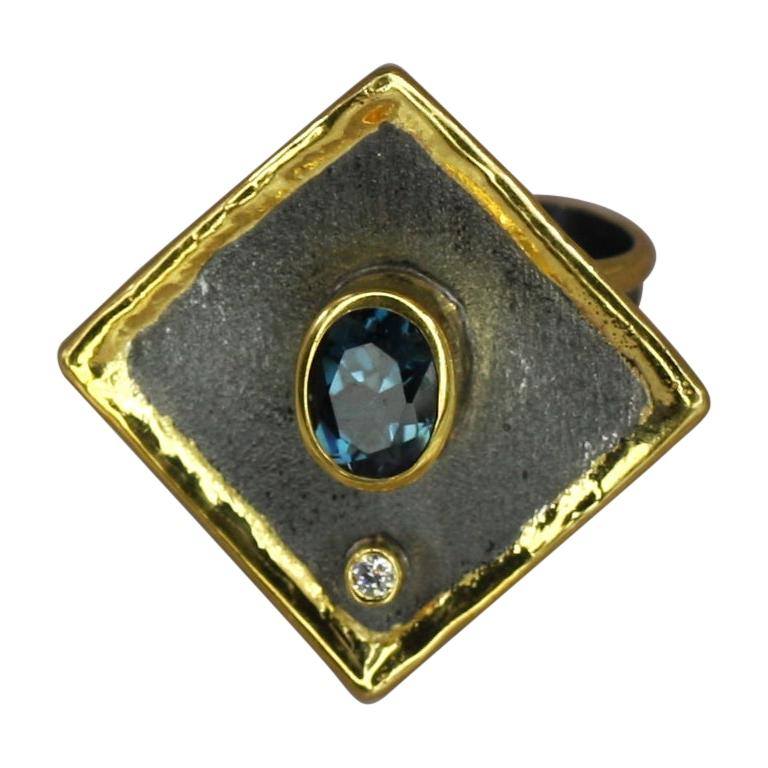 Yianni Creations 1.60 Carat Topaz and Diamond Silver Ring with Rhodium and Gold For Sale