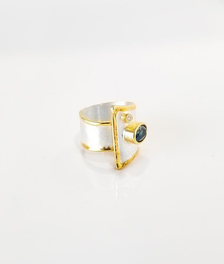 Contemporary Yianni Creations Blue Topaz and Diamond Fine Silver and 24 Karat Gold Wide Ring For Sale